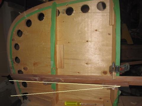 canoe building: cedar strip at bow