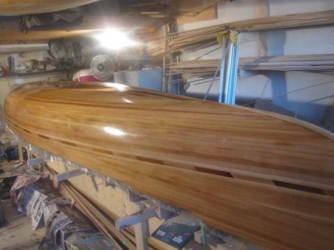 fiberglassing a cedar strip canoe